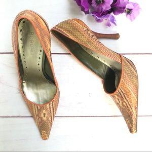 BCBGirls Beige/Brown Snake Print Pointed Toe Heels
